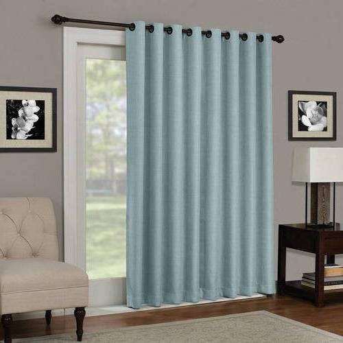 1pc 84 Spa Solid Color Blackout Sliding Door Curtain, Rod Pocket Polyester, Blue Sliding Patio Door Panel Window Treatment Single Panel, Modern Contemporary Curtains Glass Door