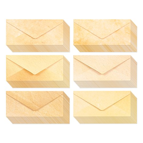 48 Pack Aged Antique Stationery Envelopes for Writing and Printing - Classic Old Fashioned Envelopes Value Pack - 8.7 x 4 Inches - 48 Count