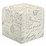 Cortesi Home CH-OT258670 Braque Cube Ottoman in Linen Script Print Fabric, Beige Review