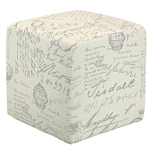 Cortesi Home CH-OT258670 Braque Cube Ottoman in Linen Script Print Fabic, - French Vanity