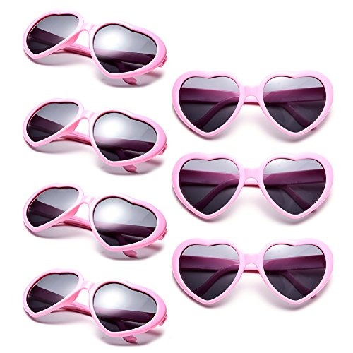 Neon Colors Party Favor Supplies Wholesale Heart Sunglasses (7 Pack (Hearts Party Pack)