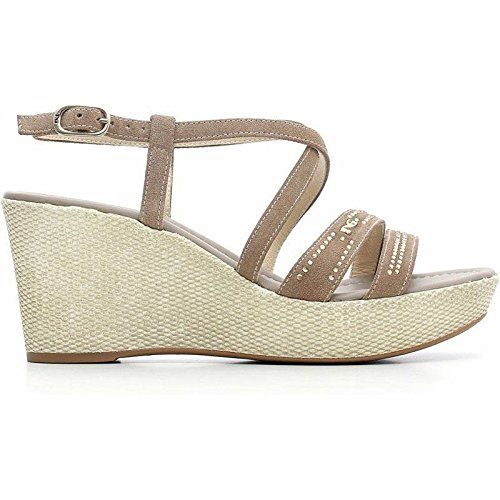Sandalo con Zeppa in Pelle Marrone P615624D-405 - Nero Giardini