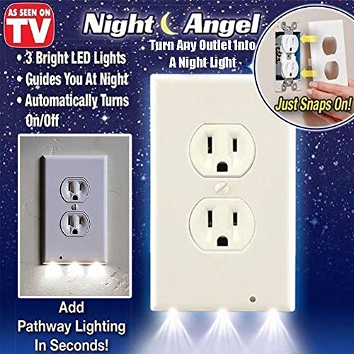 Night Angel 1 Wall Coverplate with Automatic Light Sensor and Built-in LED Guidelights for Square Outlets-Decor, 1, White (Night Light Switchplate)