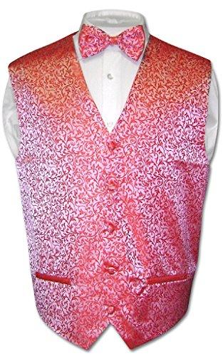 Antonio Ricci Men's Paisley Dress Vest Bow TIE RED Color Bowtie Set Size Small