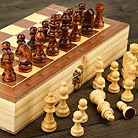 "Akshu 13""X 13"" Wooden Folding Chess Set,Handmade Game Board Interior for Storage for Adult Kids Beginner Chess Board"