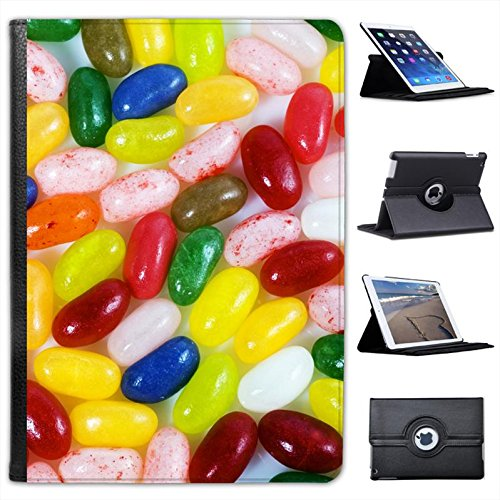 Multi Flavoured Jelly Beans Red, Green, Pink, Blue for Apple iPad Air 2 [2014 Version] Faux Leather Folio Presenter Case Cover Bag with Stand Capability