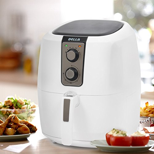Della Electric Multipurpose Classic Rapid Air Fryer Dual Dial Temperature & Timer Controls, 5.8 QT, 1800W, (Temperature Dial)