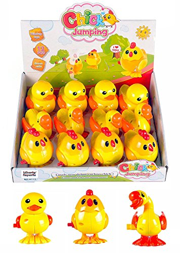 [Variety Bundle] 1 Dozen Wind-Up Plastic Jumping Chicken Duck Goose Assortment Party Favors (Pack of 12) by Liberty Imports