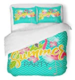 Emvency 3 Piece Duvet Cover Set Breathable Brushed Microfiber Fabric Blue Abstract Summer Party with Flamingo and Pineapple Beach Club Cocktail Dance Bedding with 2 Pillow Covers Full/Queen Size