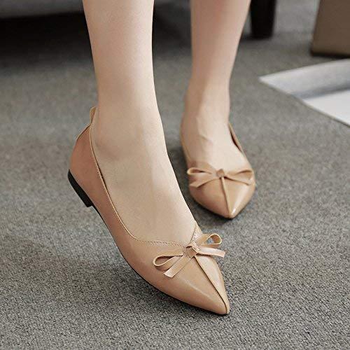 Eeayyygch Flache Flache Schuhe flachen Mund Fliege flach flach flach mit einzelnen Schuhen weiblichen Komfort eine Stufe niedriger und Frauenschuhe (Farbe   EU 40 Größe   The rot) b009a4