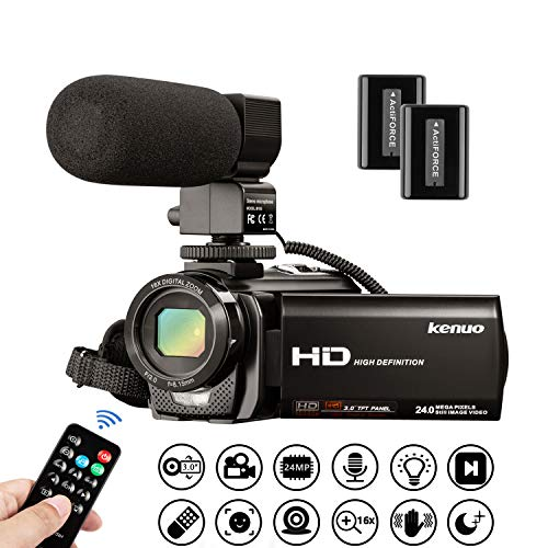 Video Camera Camcorder Kenuo Full HD 1080P 30FPS Digital Camera Vlogging Camera For YouTube 3.0 Inch LCD 270 Degrees Rotatable Screen LED Fill Light 16X Digital Zoom External Microphone With 2 Batteries