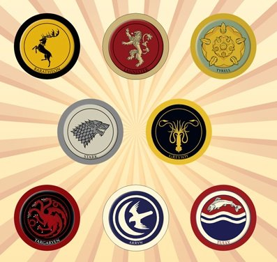 Game of Thrones House Crests Set of 8 - 1 Inch Pinback Buttons