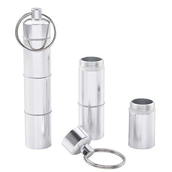 Cizen 2 Piezas Llavero Caja de Pastillas, Caja de Pastillas de Aleación de Aluminio Impermeable Portátil, Adecuado para Llevar Pequeños Objetos ...