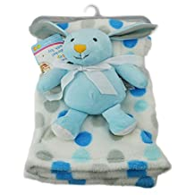 First Steps Super Soft Fleece Blanket Comfort Blanket Toy Baby 6m+ 30? Washable - Blue Bunny by First Steps