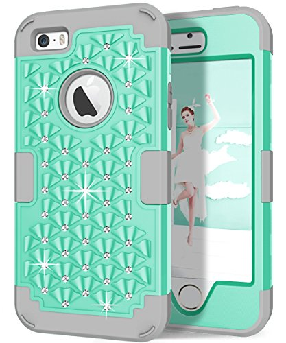 Hocase iPhone 5s Cute Case with Sparkly Glitter Bling Rhinestones Hybrid Dual Layer Protective Hard Back Cover+Silicone Bumper for Apple iPhone 5/5s/SE - Aqua / Grey (Iphone 5s Case Cute Bling)