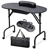 Yaheetech 37''L Portable & Foldable 1-Drawer Manicure Table Nail Technician Desk Workstation Manicure Table with Client Wrist Pad and Free Carrying Case, Black