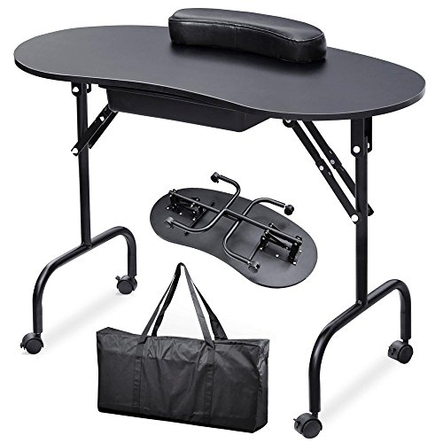 (Yaheetech 37''L Portable & Foldable 1-Drawer Manicure Table Nail Technician Desk Workstation Manicure Table with Client Wrist Pad and Free Carrying Case, Black)