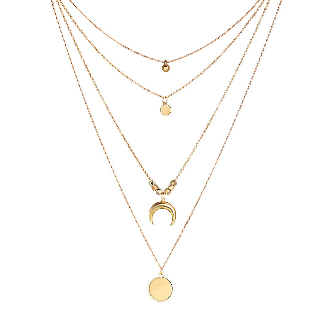 Beaums Multiple Layer Moon Coin Tassel Chain Necklace Pendant Choker Clavicle Women Girls Jewelry Collar Chain