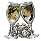 Malden International Designs Champagne Glasses Metal Wedding Picture Frame, 2 Option, 2-2x3, Silver