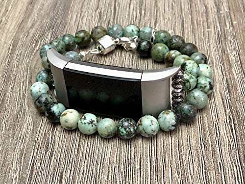 African Turquoise Stones Bracelet for Fitbit Charge 2 Fitness Tracker Handmade Natural Glass Jasper Beads Fitbit Charge 2 Band 925 Sterling Silver Jewelry Magnetic Clasp Adjustable Size Fitbit Bangle