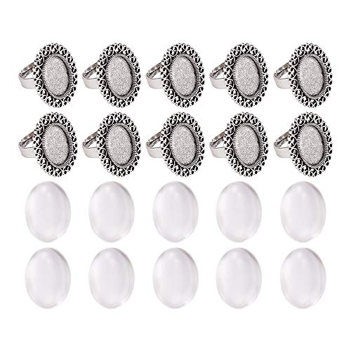 Transparent Antique (Pandahall 10 Sets Antique Silver 13x18mm Oval Transparent Glass Cabochons Iron Flower Finger Ring Components Alloy Cabochon Bezel Settings Ring Making)