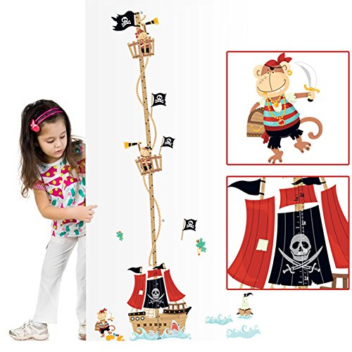 Wallpark Cartoon Cool Cute Monkey Pirate Ship Skeleton Flag Height Sticker, Growth Height Chart Measuring Removable Wall Decal, Children Kids Baby Home Room Nursery DIY Decorative Art Wall Mural