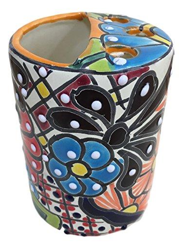 Casa Fiesta Designs Talavera Toothbrush Holder for Bathroom Countertops - Hand Painted Mexican Pottery - Multicolor - Porta Cepillos -