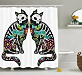 Black White and Pink Shower Curtain Ambesonne Day Of The Dead Decor Shower Curtain by, Skeleton Cats Festive Celebration Spanish Art Print, Fabric Bathroom Decor Set with Hooks, 70 Inches, Black White Turquoise Pink