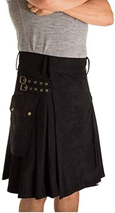 Huateng Falda de Fiesta Tradicional Escocesa para Hombres Falda de ...