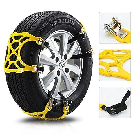 Cadenas antideslizantes universales cuadradas con cierre de rueda para barro de nieve (color amarillo)