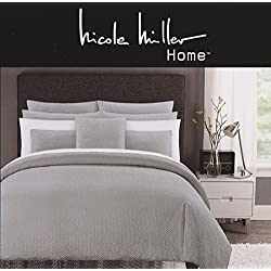 Nicole Miller Home 3pc King / Cal.King Squares Seersucker 3pc Duvet Cover Set Modern Grey Gray Ruched Textured Duvet Cover