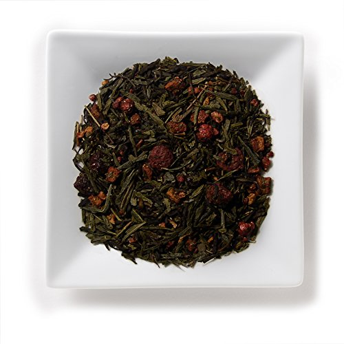 Orchids Blend (Mahamosa Berry Orchid Sencha Green Tea 2 oz, Loose Leaf Green Tea Blend (with Chinese sencha tea, China orchid, strawberry, raspberry, black currant, cherry))