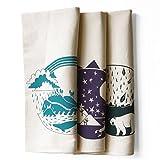 Set of 3 Explorer Bundle Pack Kitchen Tea Towels: Pacific, Southwest, Atlantic