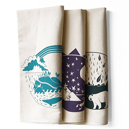 Set of 3 Explorer Bundle Pack Kitchen Tea Towels: Pacific, Southwest, Atlantic by eleventy-five