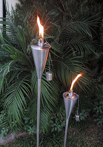 EasyGo Patio Torch Outdoor Garden Oil Lamp Lanterns with Decorative Stainless Steel Canister and Stand Stake - 45 Inches Tall Each - Thick, 7.5'' Long Lasting Fiberglass Wick - Strong Flame by EasyGoProducts (Image #3)