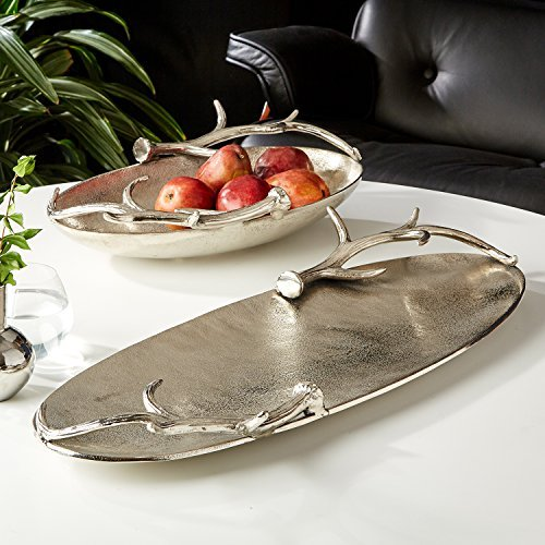 Silver Antler Tray - Set of 2 Deer Holiday Trays Aluminum Food Grade