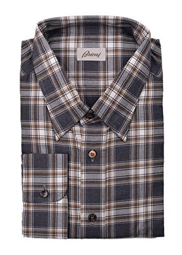 (Brioni Mens Brown Grey Plaid Button Down Dress Shirt Size EU47/US18.5 RTL$700)