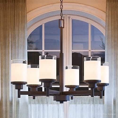 Luxury Contemporary Chandelier, Large Size 19.75 H x 25 W, with Transitional Style Elements, Olde Bronze Finish, UHP2024 from The Cupertino Collection by Urban Ambiance
