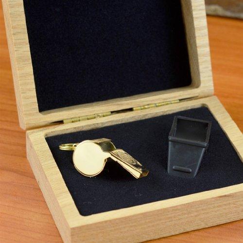 ChalkTalkSPORTS 14K Gold Coach Whistle In An Oak Case