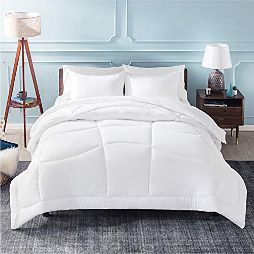 Bedsure - White Down Alternative Comforter - Full/Queen Size(88x88 inches) Microfiber Fluffy Duvet Insert with Corner Tabs - All Season Quilted Lightweight Hypoallergenic Comforter