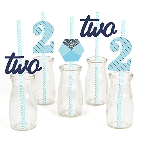Two Much Fun Paper Straw Decor - Boy - 2nd Birthday Party Striped Decorative Straws - Set of (Second Birthday Party Ideas)