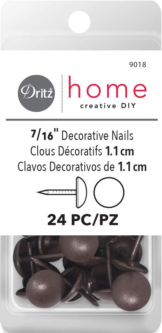 24-Piece Brown 7//16-Inch Dritz Home 9018 Smooth Decorative Nails