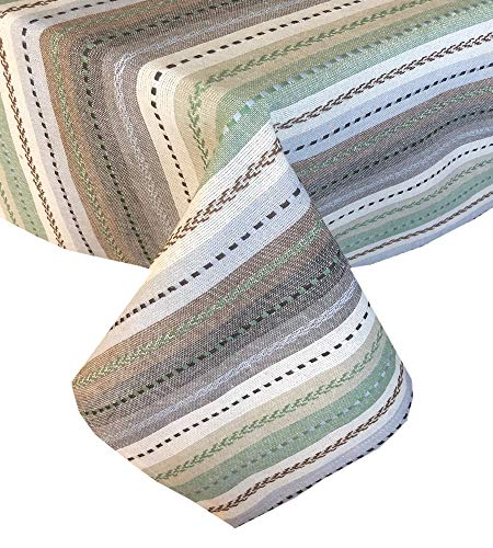 Lintex Southwestern Phoenix Stripe Indoor/Outdoor Casual Cotton Tablecloth, Textured Woven Rustic Striped Kitchen, Patio and Dining Room Tablecloth, 60 x 84 Oblong/Rectangle, Natural