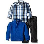 Nautica Baby Three Piece Set with Woven, Quarter Zip Sweater, Denim Jean, Medium Blue, 3-6 Months