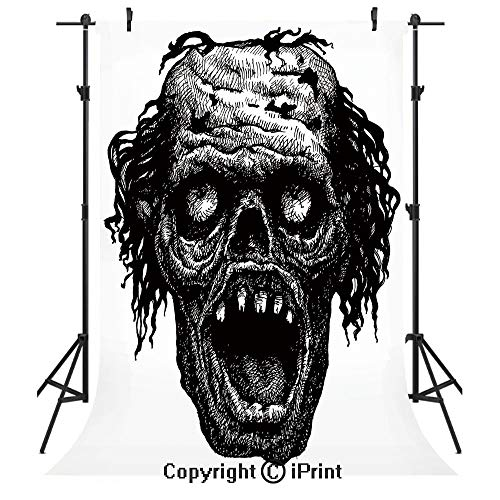 Halloween Photography Backdrops,Zombie Head Evil Dead Man Portrait Fiction Creature Scary Monster Graphic,Birthday Party Seamless Photo Studio Booth Background Banner 6x9ft,Black Dark -