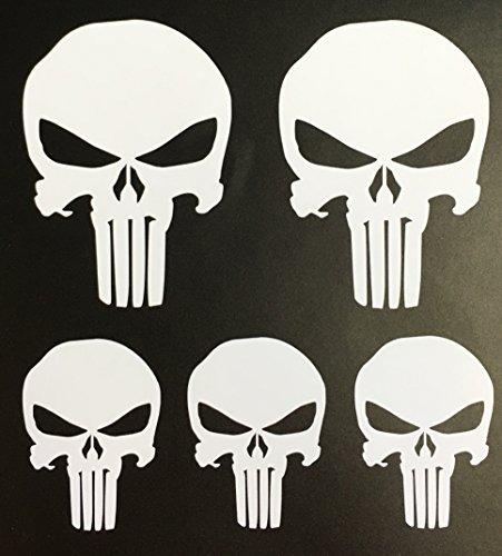 C60048 White Punisher Set of 5 (2-2x3 3- 2x1.5), RC Car, Premium Vinyl Decals
