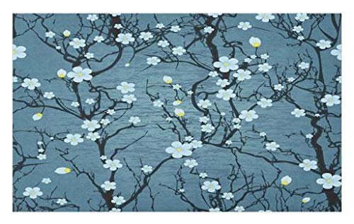 Lunarable Floral Doormat, Sakura Tree Branches Pale Japanese Cherry Blossom Spring Form, Decorative Polyester Floor Mat with Non-Skid Backing, 30 W X 18 L Inches, Blue