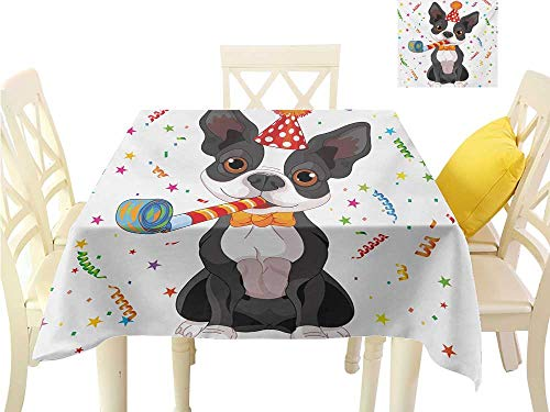 Angoueleven Fall Tablecloth Kids Birthday,Black and White Boston Terrier Dog with Colorful Party Celebration Backdrop,Multicolor Square Table Cloth Home Decor W 54