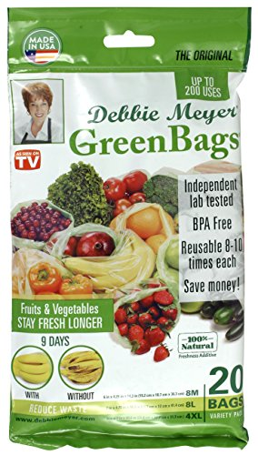 Debbie Meyer GreenBags Freshness-Preserving Food/Flower Storage Bags (Various Sizes, 20-Pack) (Vegetable Keeper)