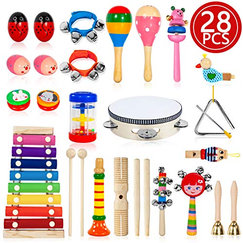 TAIMASI Kids Musical Instruments, 28PCS 18 Types Wooden Percussion Instruments Tambourine Xylophone Toys for Kids Children, Preschool Education Early Learning Musical Toy for Boys and Girls